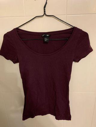 H&M 棗紅色短袖Tee xs size