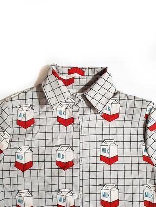 Plaid milk carton print grey blouse