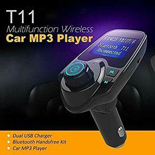 T11 Wireless Bluetooth Car MP3 Adapter LCD Modulator Full Frequency FM Transmitter Suitable for All Smartphones AUX Cable/TF Card/3.5mm Line/Handsfree Calling