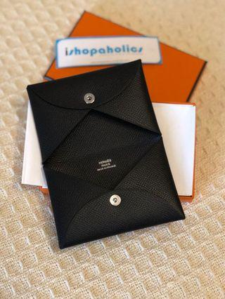 🔥BNIB! HERMES CALVI CARD HOLDER IN BLACK EPSOM