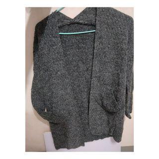 長板 毛衣 灰色 罩衫