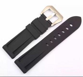 22mm Black Rubber Watch Straps