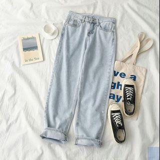Light Blue korean style straight jeans