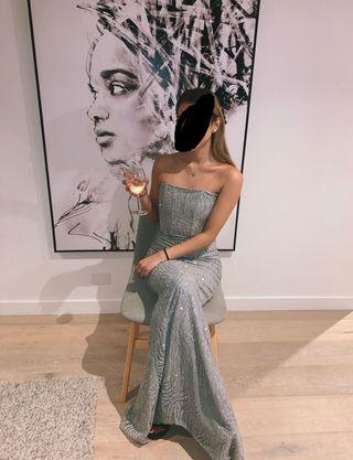 Silver mermaid formal dress