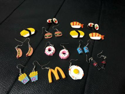 New! FREE Mailing! Food Theme Earrings and Pins