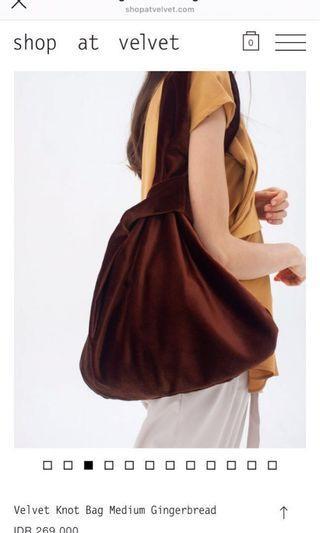 SHOPATVELVET Velvet Knot Bag Medium Gingerbread