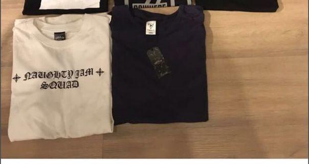 🚚 全新 SQUAD NOWHERE 黑色白色T恤 L 原價1980