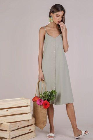Button Slip Dress (Light Olive)