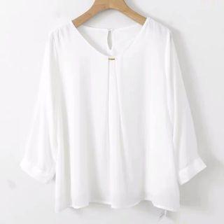包郵 日本圓領白色雪紡襯衫
