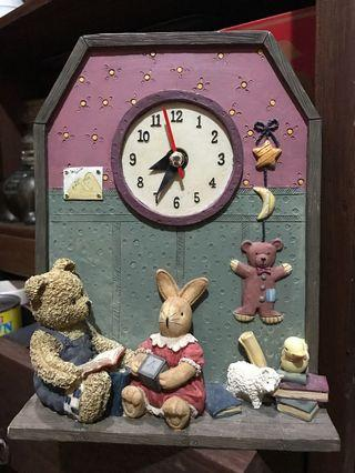 Vintage Teddy Bear Table Clock. Very Heavy. In great working condition.m