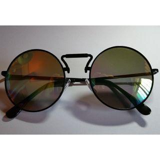 三色水銀鏡黑色圓形太陽眼鏡(S9)