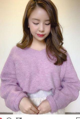 軟滑淺紫針織毛衣 (圖三係實色)