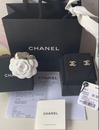 🌟Brand New Chanel Champagne Gold Double C logo crystal earrings 🌟