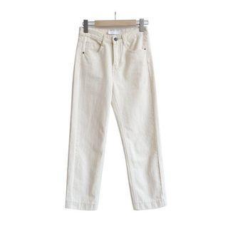 🚚 奶白色直筒牛仔褲 休閒九分褲