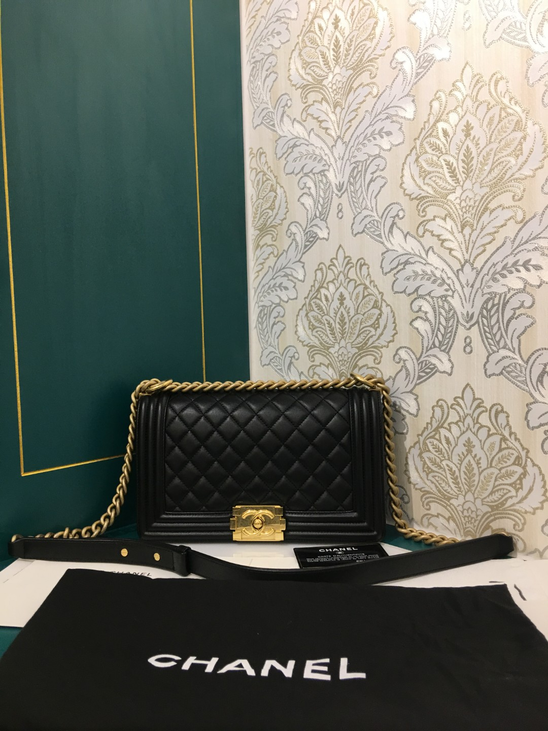 b4937cf900b2 24 Brand New Chanel Boy Old Medium Black Lambskin with GHW, Luxury ...