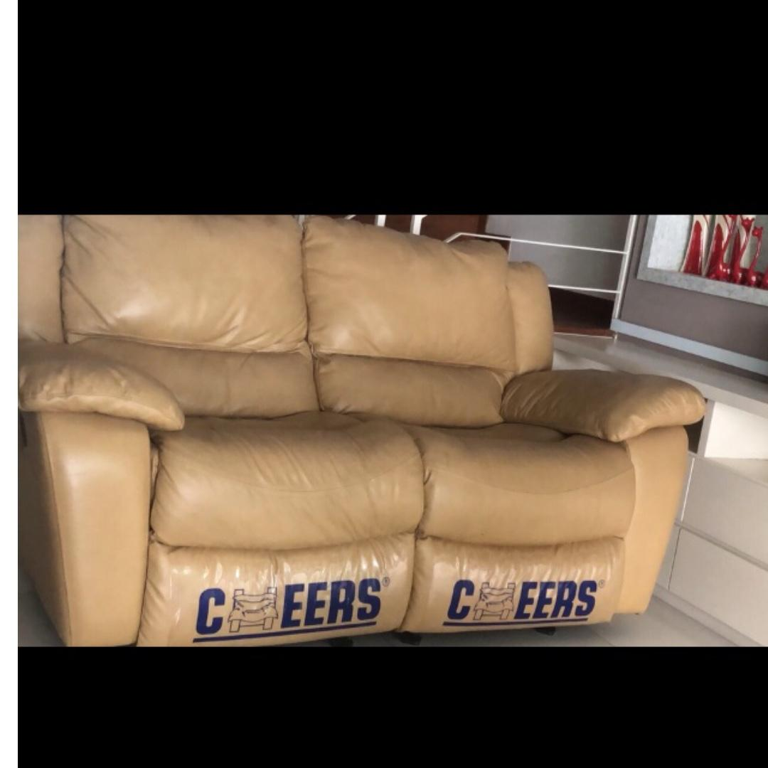 2 seater recliner & rocking leather sofa