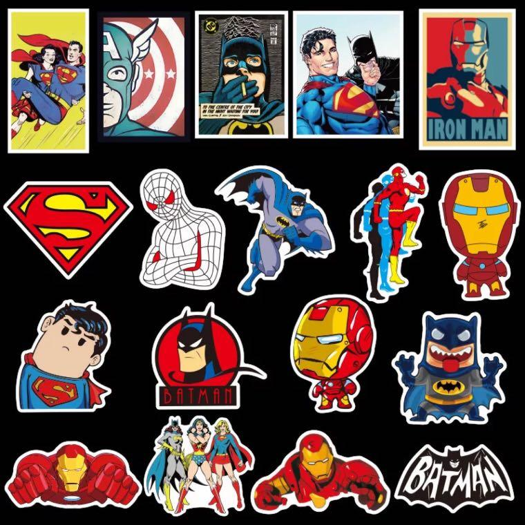 50pcs MARVEL & DC vinyl decal sticker bomb for luggage laptop motorcycle