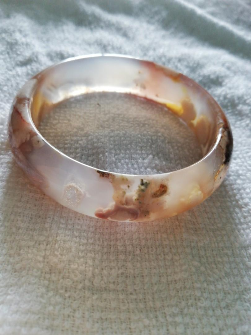 新貨57mm天然櫻花瑪瑙手鐲手鈪高冰果凍體飄夕陽紅水中立體櫻花
