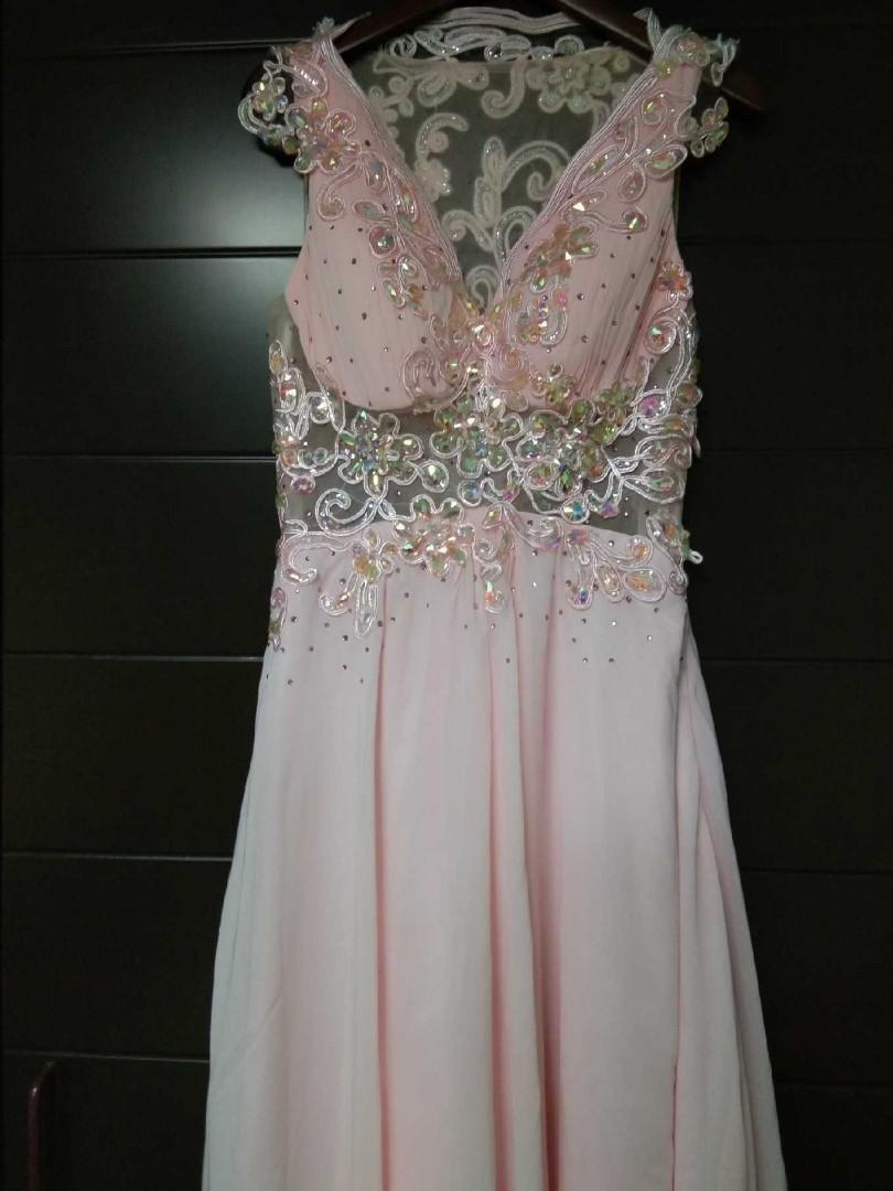 95% new elegant crystal fancy pink wedding gown /evening gown  晚装婚紗
