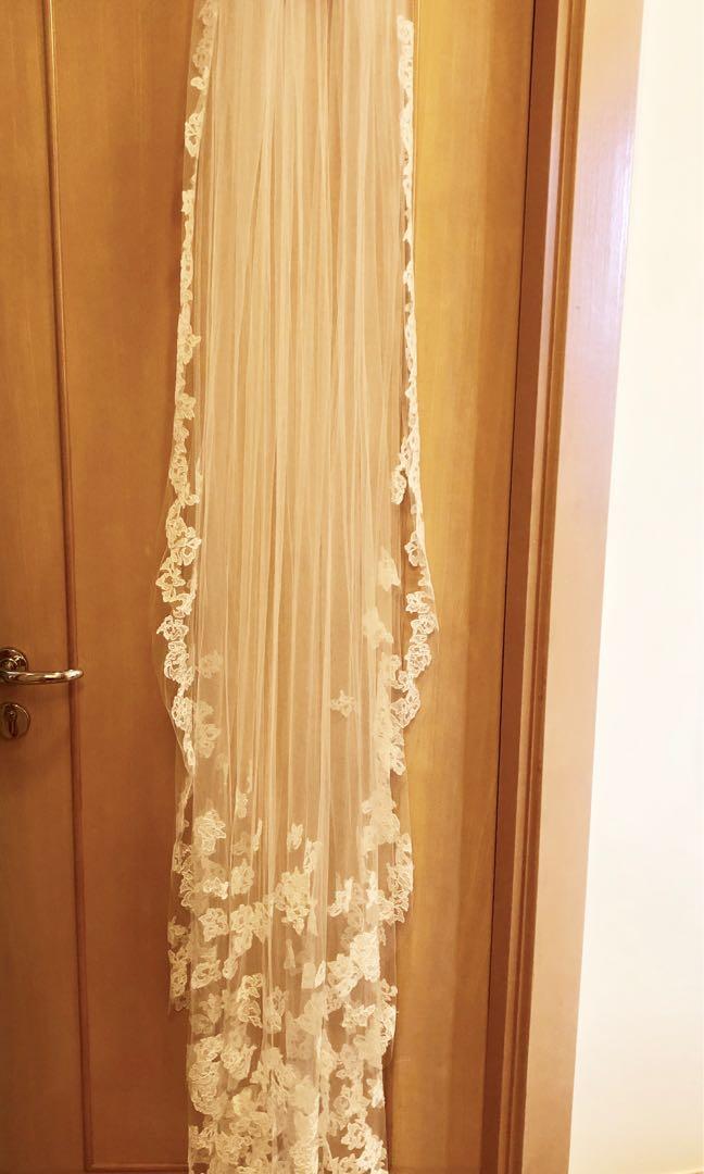💝 White by Vera Wang Floral lace applique chapel veil 💝