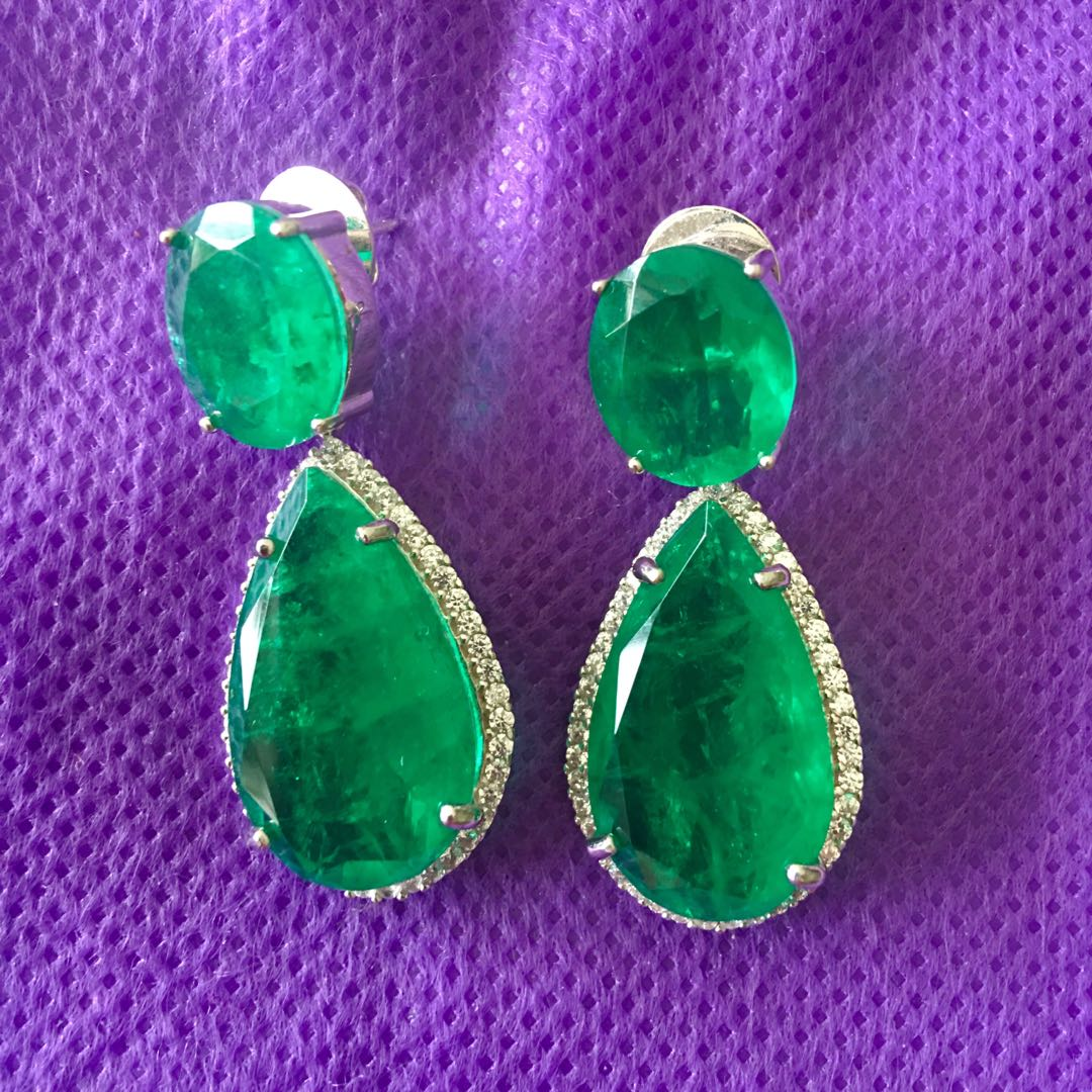 e965bf84b Attractive!! Lab emerald earrings - inspired by Angelina Jolie ...