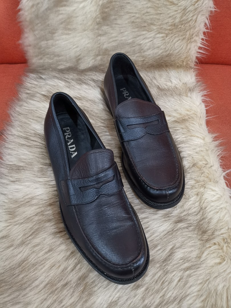 829bb35f28 Authentic Prada Dark Brown Saffiano Leather Penny Shoes for Men s ...