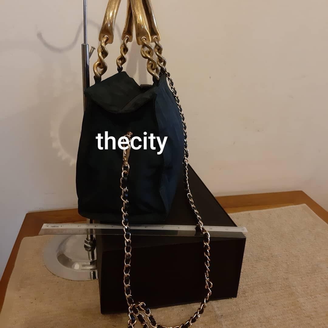 AUTHENTIC PRADA TOTE - BLACK NYLON CANVAS - GOLD HARDWARE - CLEAN INTERIOR - WITH EXTRA HOOKS & LONG CHAIN STRAP FOR SLING CROSSBODY- (PRADA CHAIN SHOULDER BAGS NOW RETAIL AROUND RM 5000+)