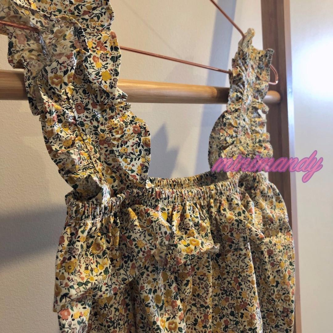 Bangkok yellow floral frill ruffle cropped top flowers drawstring sleeveless