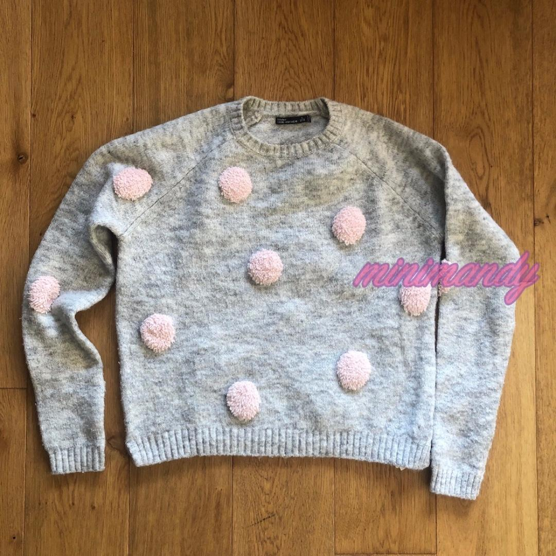 Bershka pink polka dot grey jumper cropped top dotted sweater size S