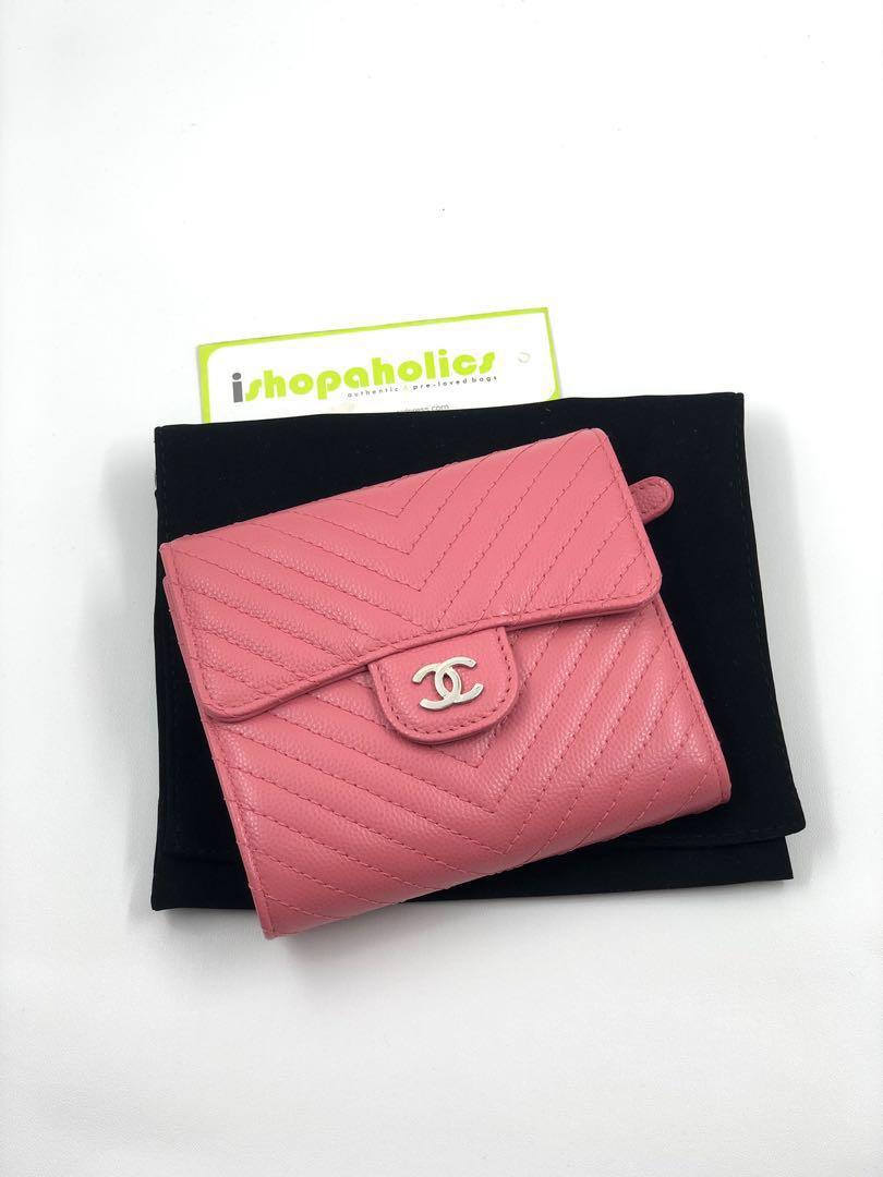 ce1dd65e2f2691 💕🔥BNIB! CHANEL PINK CHEVRON CAVIAR TRIFOLD WALLET, Luxury, Bags ...