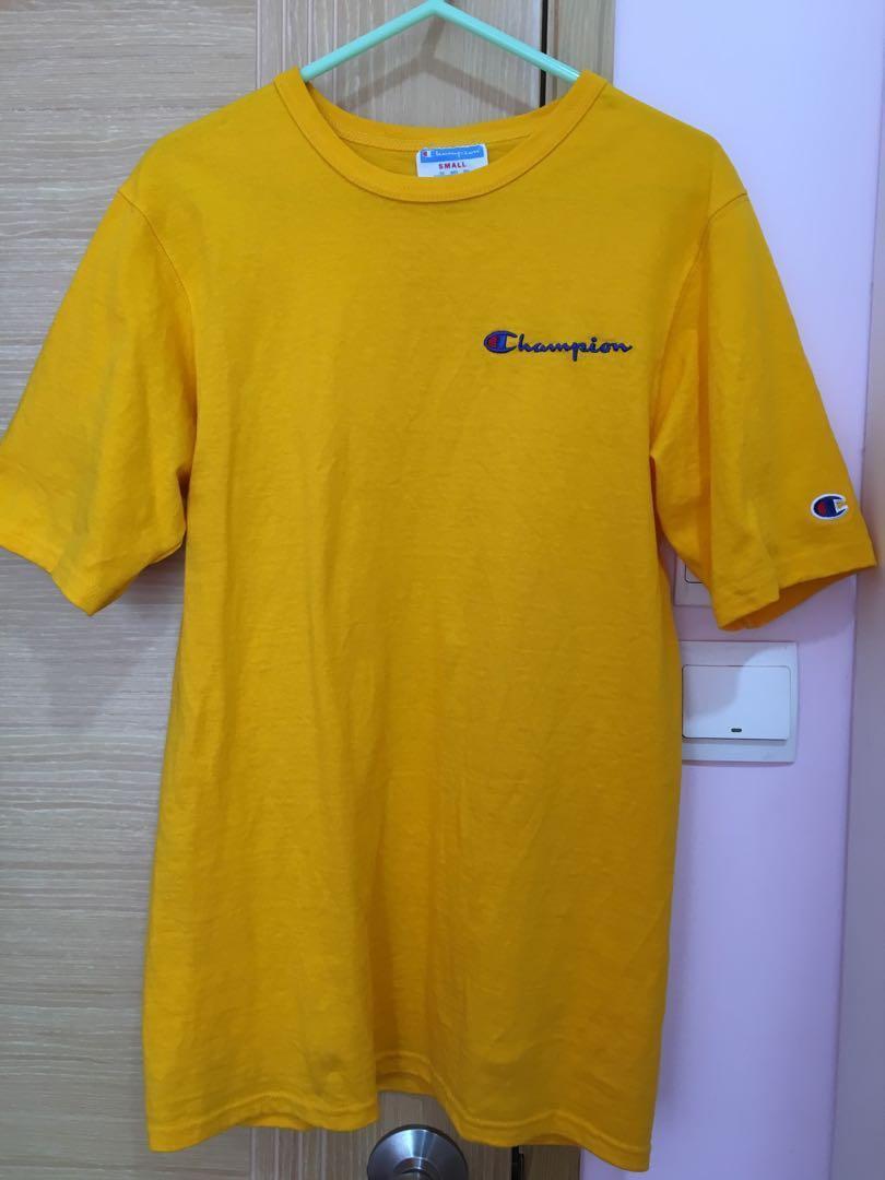 Champion 黃色logo tee