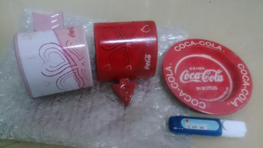 珍藏Coca Cola 心心相印套杯+鐵碟