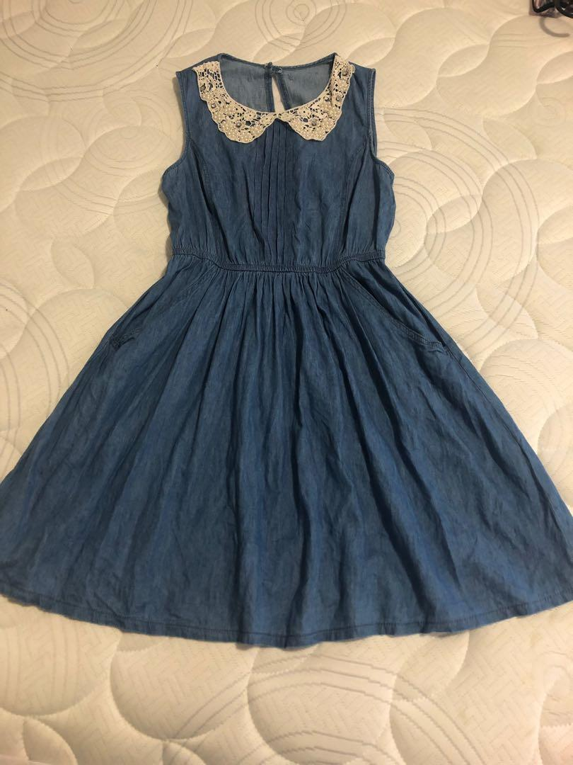 Denim dress with laced collar embellished with diamond beads