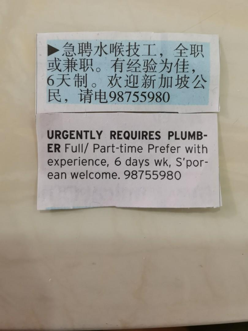 Handyman Plumber Chinese needed for perm/part position