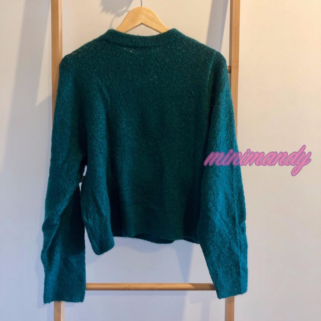 H&M emerald green jumper knitted top wool blend vintage sweater size M