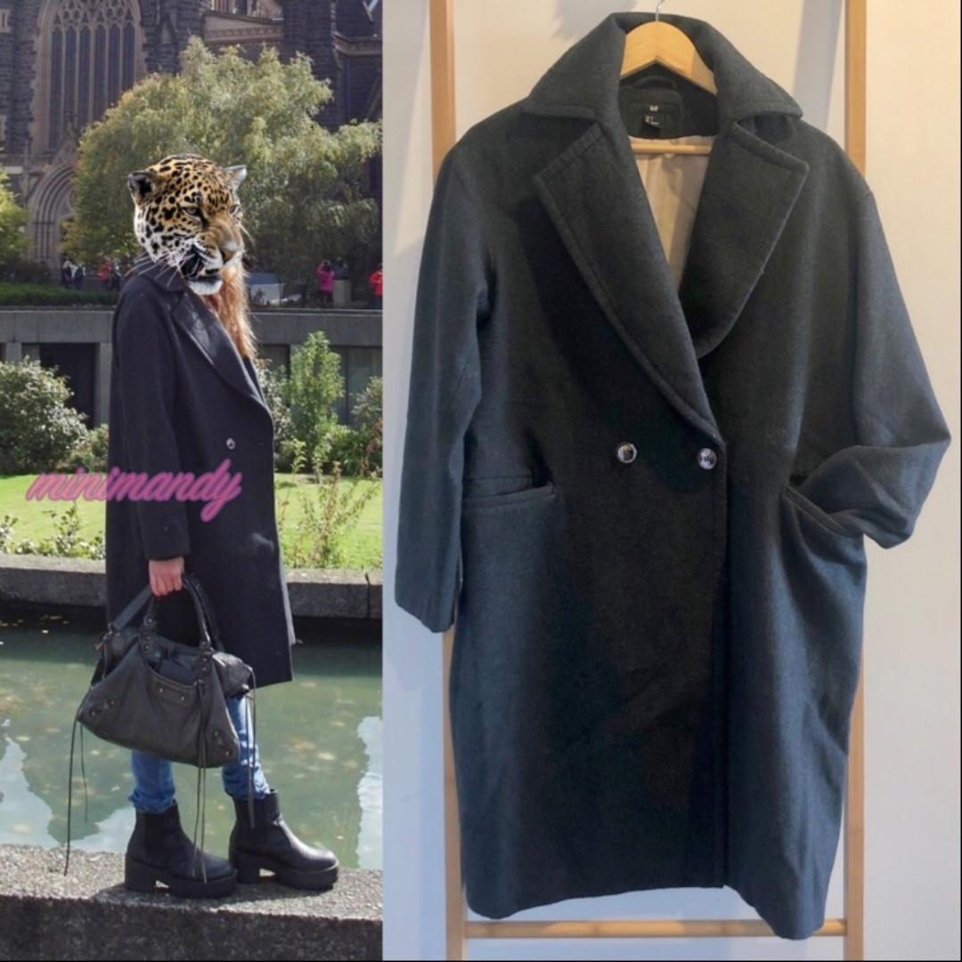 H&M women dark grey oversize coat jacket winter outwear double-breasted coat
