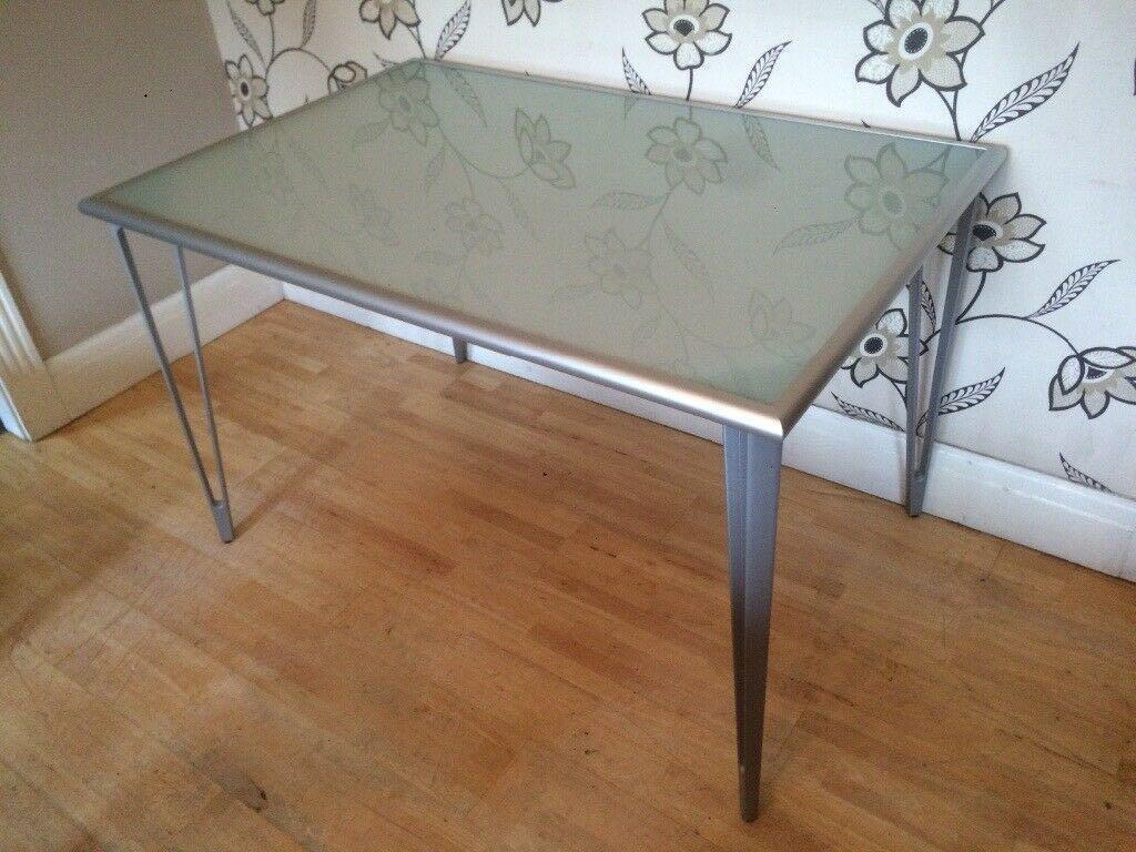 Ikea Frosted Glass Table With Metal Detachable Legs Furniture