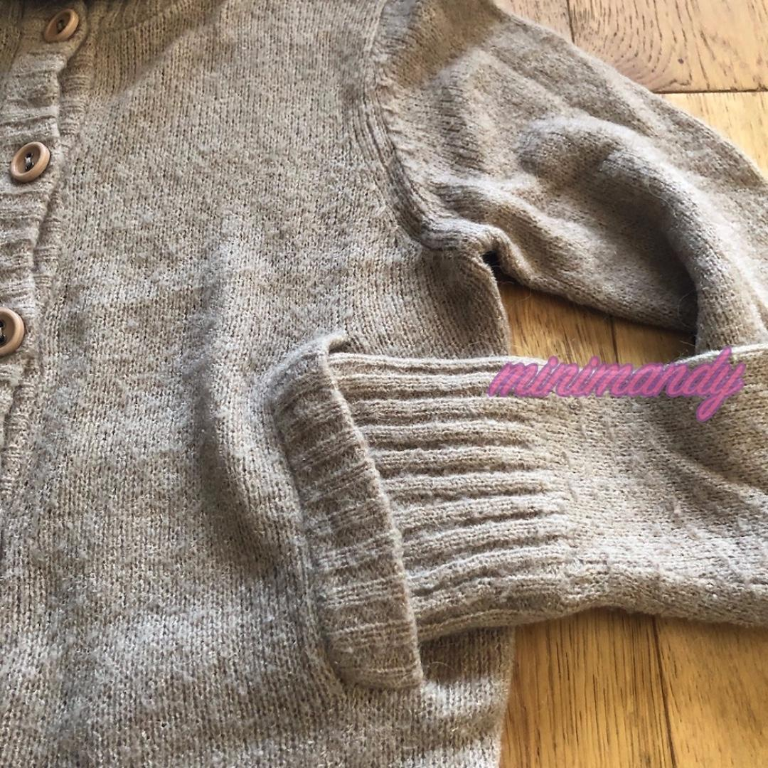 Japan brand brown taupe turtleneck jumper button front knitted top sweater