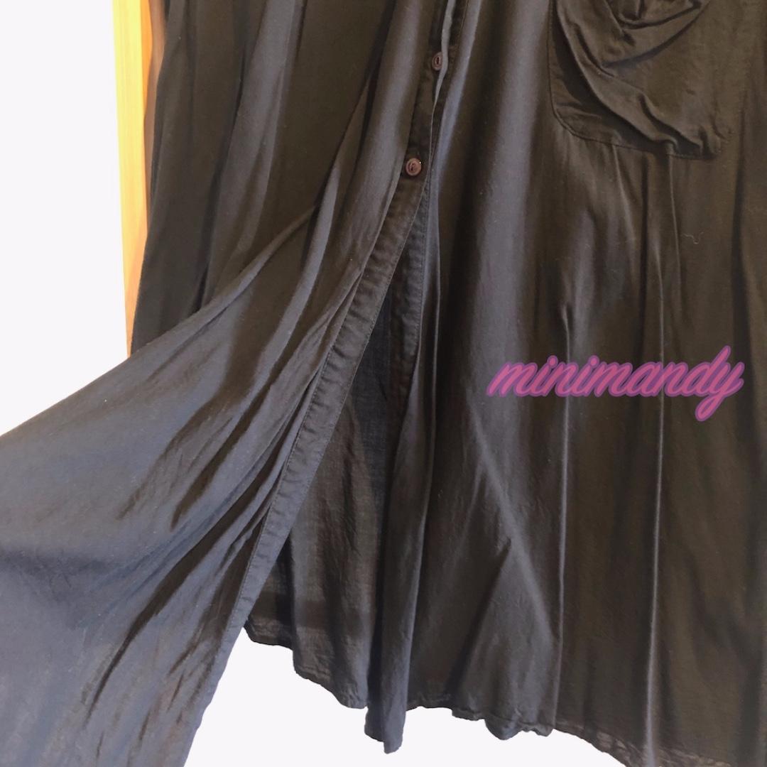 Japan brand HEATHER black mini shirt dress long top blouse