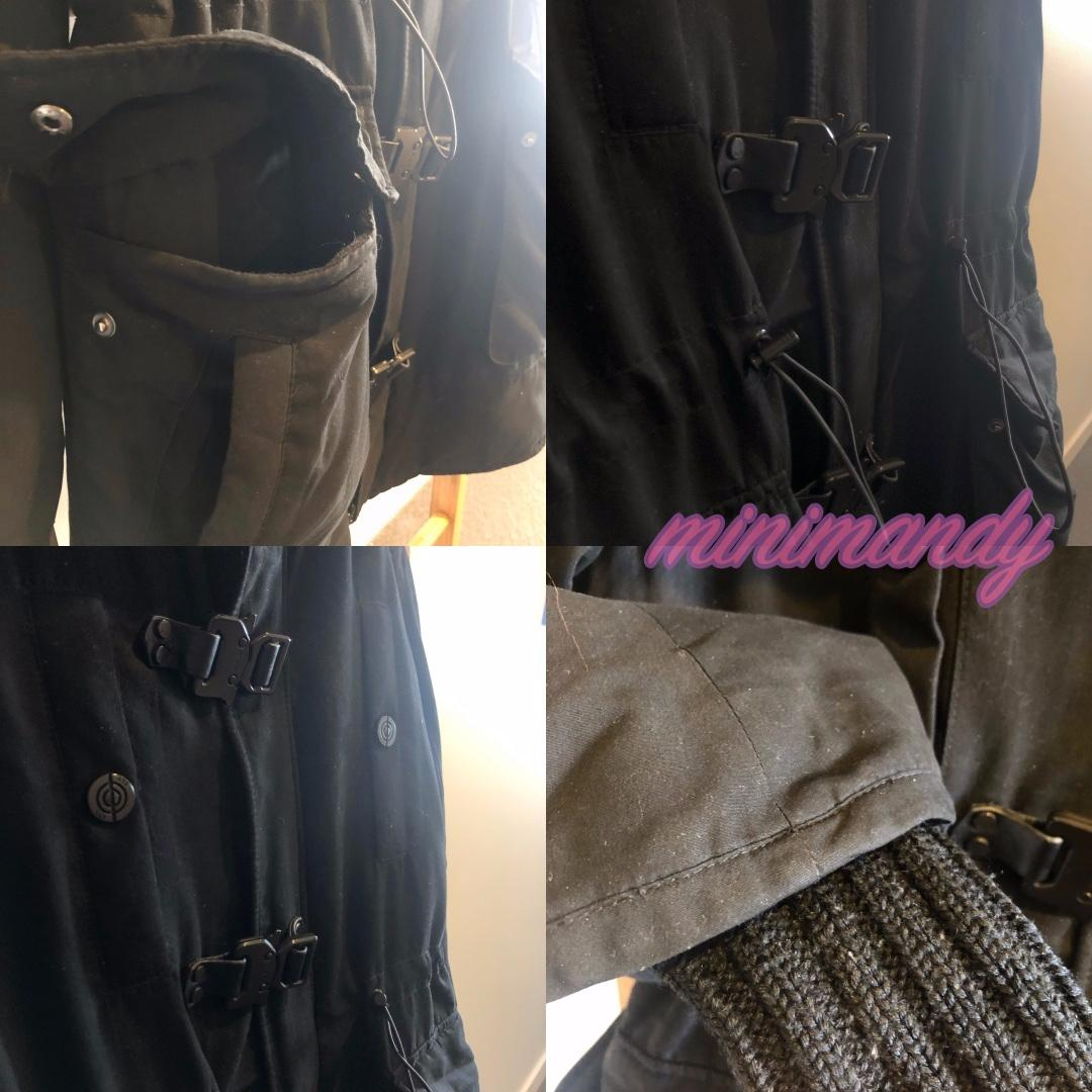 Japan brand SLY classic black parka fur hooded coat down jacket lining outwear
