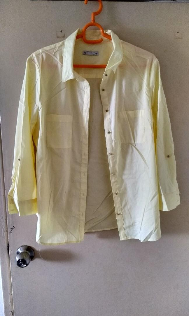 Light yellow blouse with rugged button preloved from AUSTRALIA