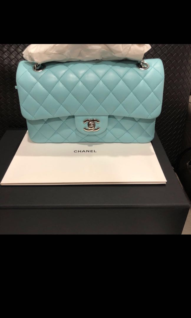 2ec41037ad98 Lightly used Chanel classic flap, full set in Tiffany blue (from Chanel 19c  collection) in small size for sale!, Luxury, Bags & Wallets, Handbags on ...