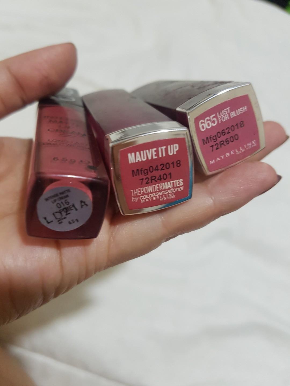 Lipstick maybelline powder matte dan make over intense matte lip cream