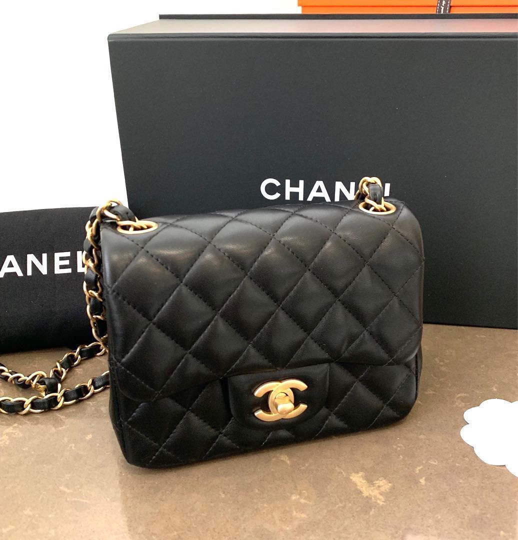 fb2f45235bd0 LNIB Chanel Mini Square Black Lambskin GHW, Women's Fashion, Bags ...