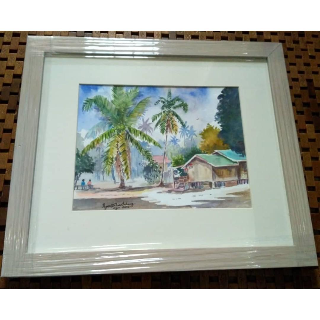 Malaysia Kelantan Village Original WATERCOLOR painting Ilyas Din WITH FRAME lukisan cat air kampung ilyas ikan talang