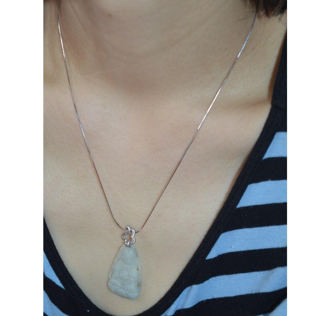 👨👩👧👦🙌18K..Celebrate Mother's Day & Father's Days Sales! 18K Solid White Gold Necklace & Pendant. Old Mine Rare 40yrs Collection. Natural Burmese Jadeite A.  A Elegant Well Carved Goddess White Jade for Protection & Well Being!  A Thoughtful Gift!