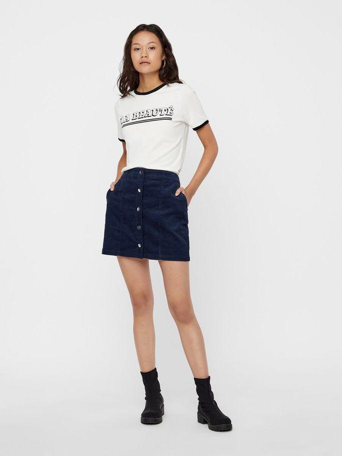 Navy Corduroy Button Skirt