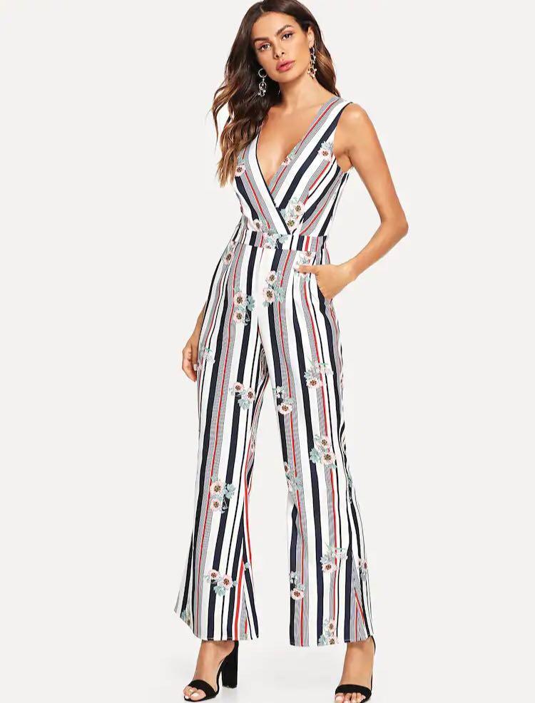 NEW Jumpsuit floral white pants abstract striped terusan celana motif bunga garis size XS v-neck v neck jumpsuit