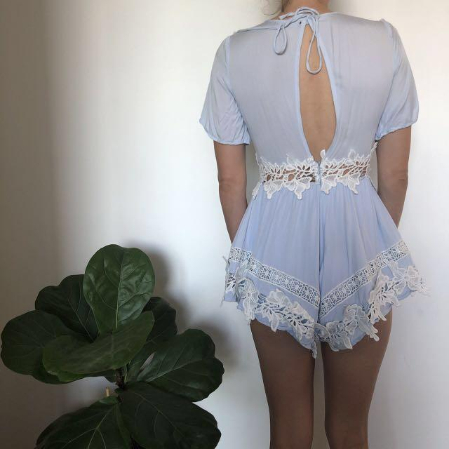 Paper Heart Baby Blue Playsuit with Lace Trim  Size 8