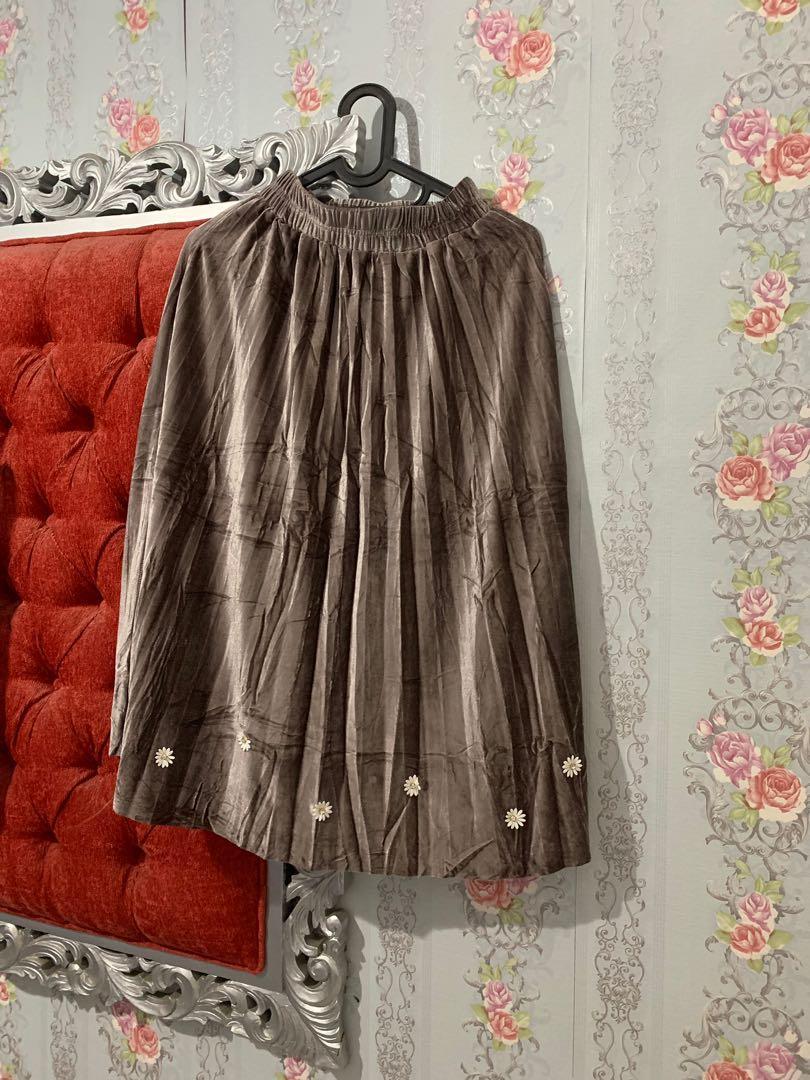 Pleated Skirt Velvet Brown 7/8
